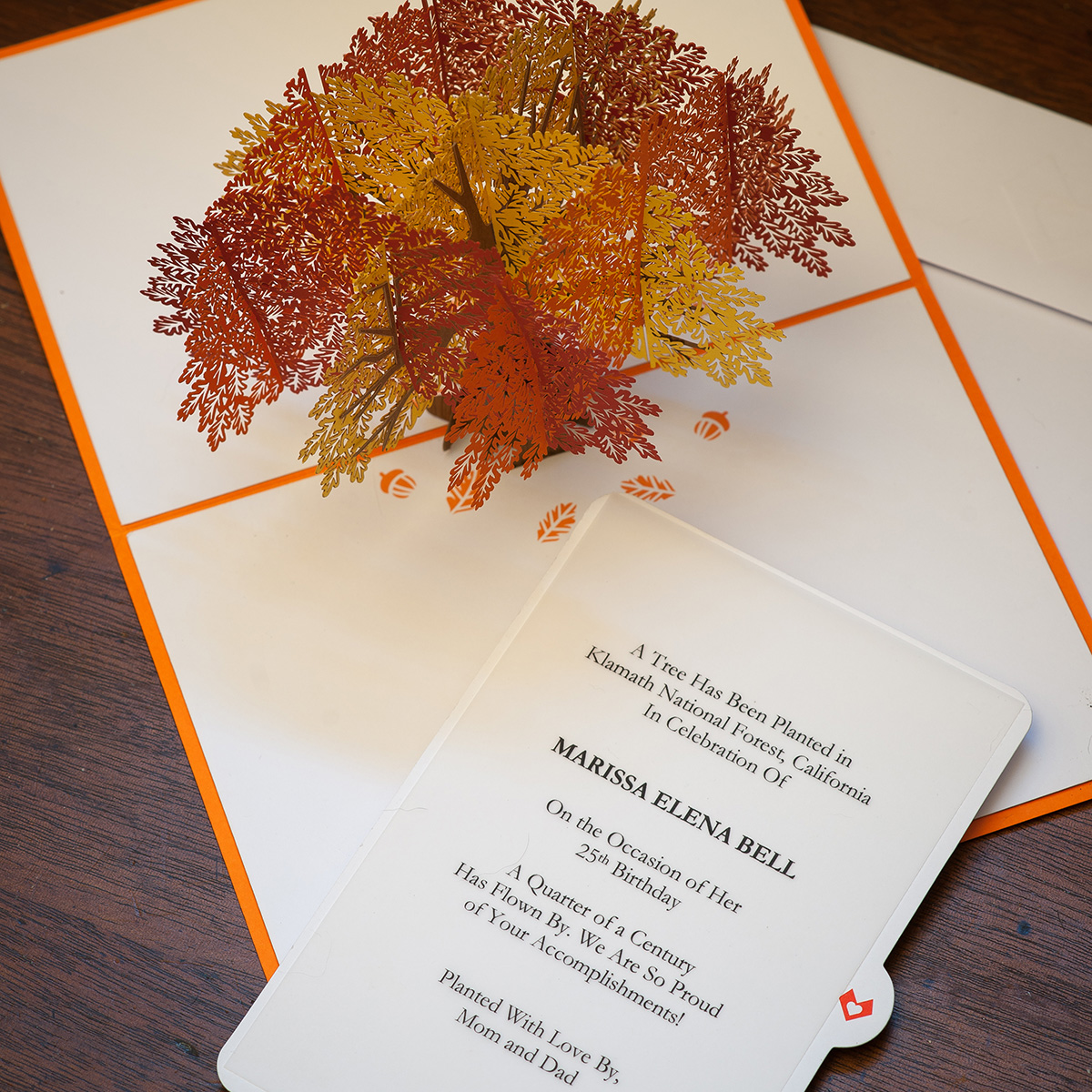 3-D Pop-Up Card tree planting certificate