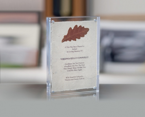 Lucite acrylic Frame Tree Planting Certificate on handmade paper and real leaf affixed