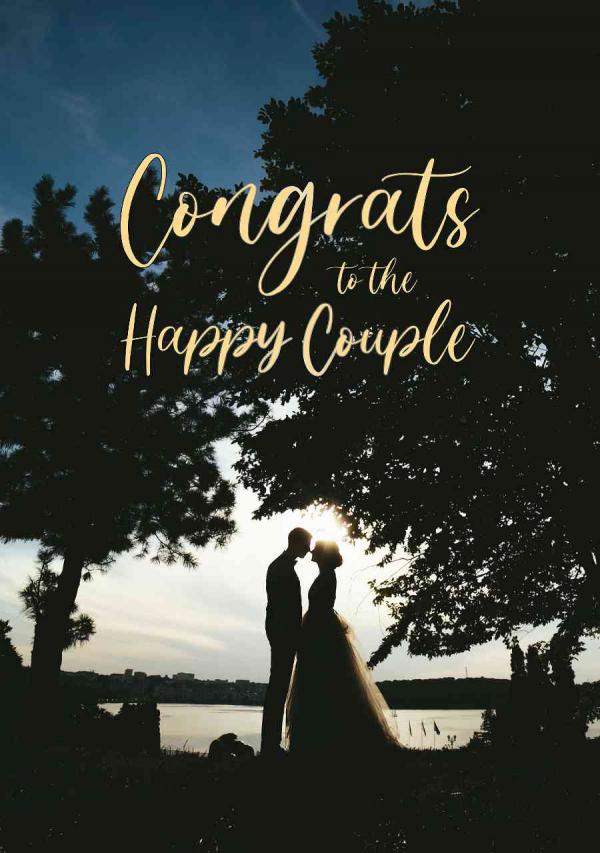 Celebration eCard - Wedding Couple Under Tree with sunset in background