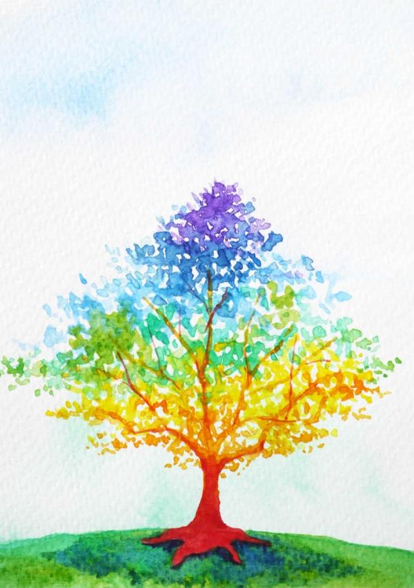 Celebration Digital eCard Front - Rainbow Tree