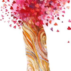 A beautiful Heart Tree illustration with heart-shaped leaves flowing from the tree.