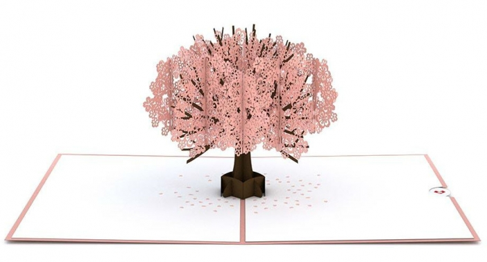 Cherry Blossom Tree 3-D Popup Card with Certificate on slide-in insert