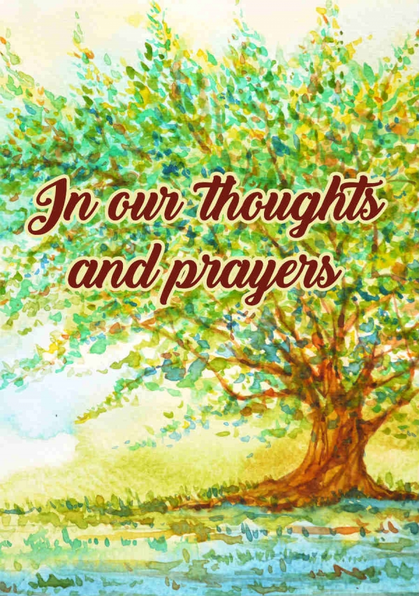 "Memorial Digital eCard Front - ""In Our Thoughts and Prayers"""