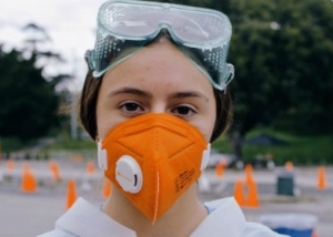 Health Care worker wearing mask during COVID-19 pandemic
