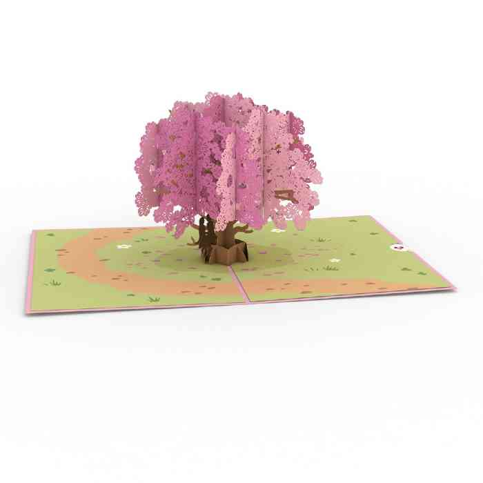 Pride Card - Overview of Dogwood Tree Popup Card Featuring Females on a Branch