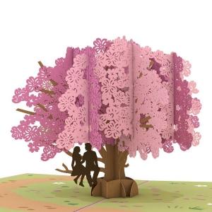 Dogwood Tree 3-D Popup Card Love Scene (male and female on tree branch) closeup