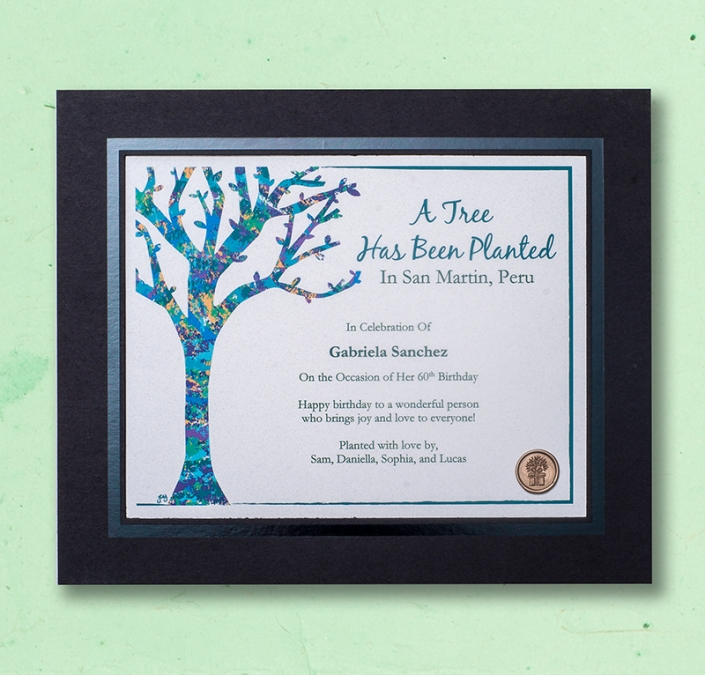 Original Artwork Framed tree planting Certificate