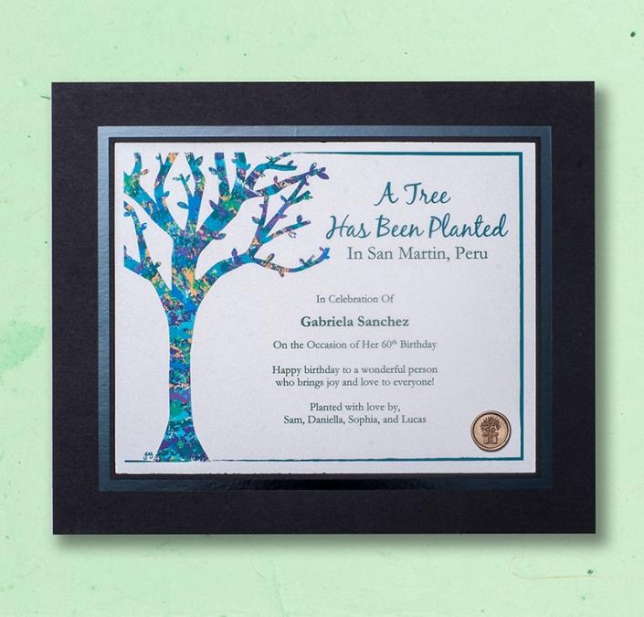 Original Artwork Framed tree planting Certificate in Photo Frame