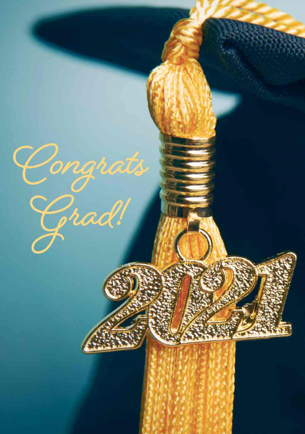 Graduation eCard Front - Cap and 2021 Tassel
