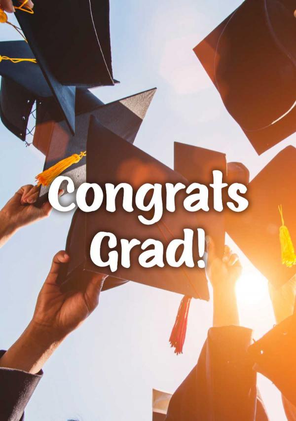 Caps Off Graduation eCard Front