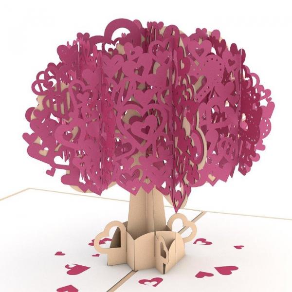 Heart Tree 3D Pop-Up Card Detail