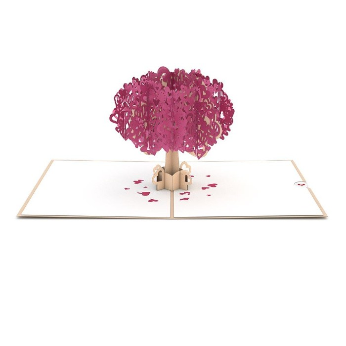 Overview of Heart Tree 3D Pop-Up Card with slide out area for tree planting certificate
