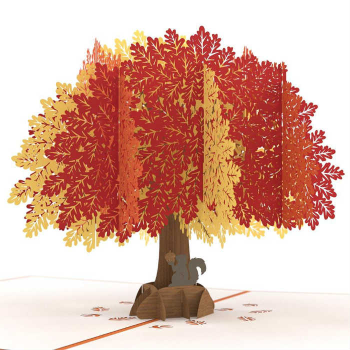 Mighty Oak Tree 3-D Pop up Card Close up View