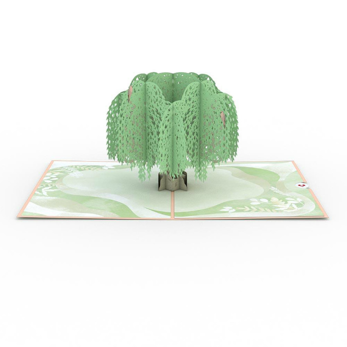 Weeping Willow Sympathy Tree Card Overview with slide-out planting certificate