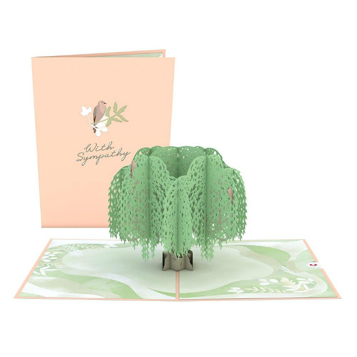 Weeping Willow Sympathy Tree Popup Card and Cover