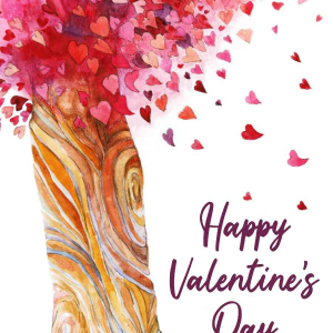 Valentines Digital eCard Front - Heart Tree Illustration