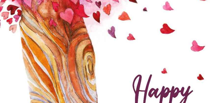 Valentines Digital eCard Front - Heart Tree Illustration
