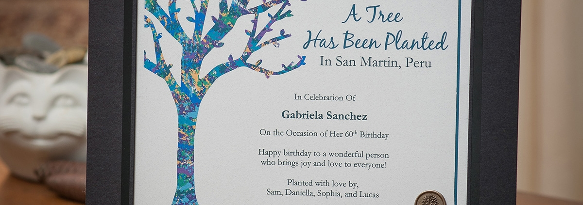The Gifted Tree's Original artwork gift tree planting certificate