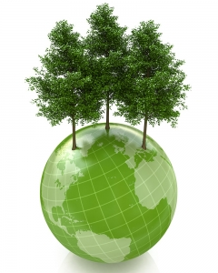 A globe with trees growing from it showing that the Gifted tree plants gift trees in 30 countries worldwide
