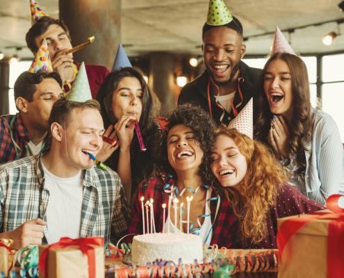 friends birthday celebrating