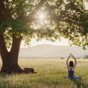 Women practicing yoga under a tree with mountains in the background