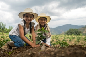 young smiling children planting trees in Mexico