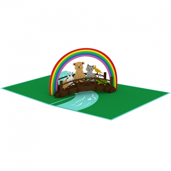 Rainbow Bridge 3-D Pop-Up Card for loss of a pet