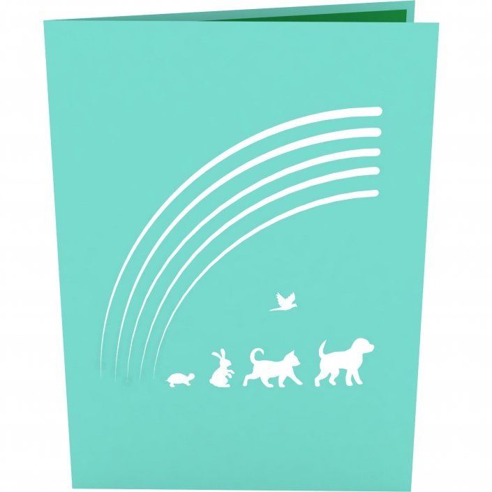 Rainbow Bridge 3-D Pop-Up Card Cover for loss of a pet
