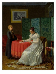 Old painting of Women Writing a Letter sitting at a table
